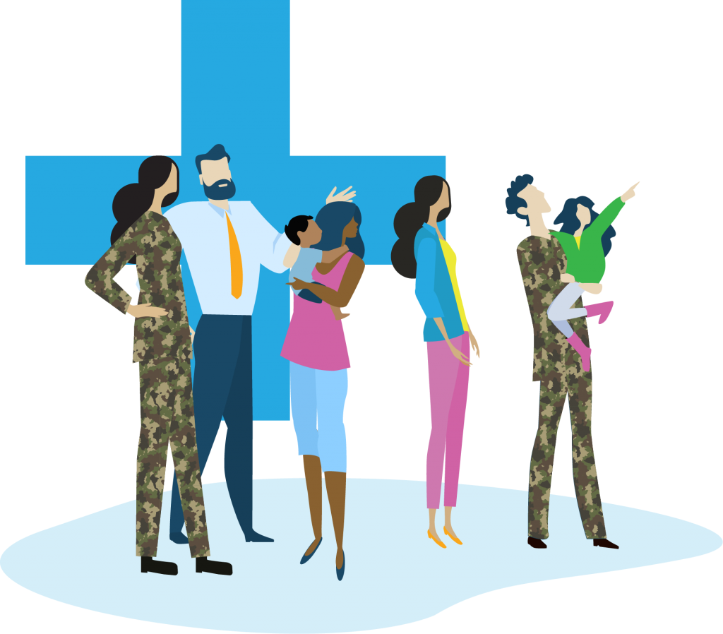 illustration of veterans and their families