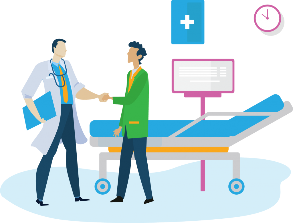 doctor and patient shaking hands illustration