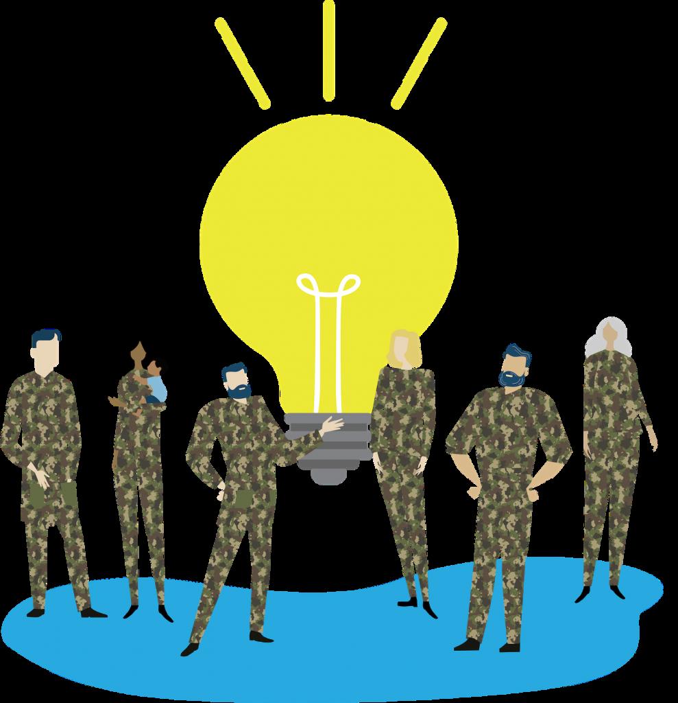 lightbulb behind militaries illustration