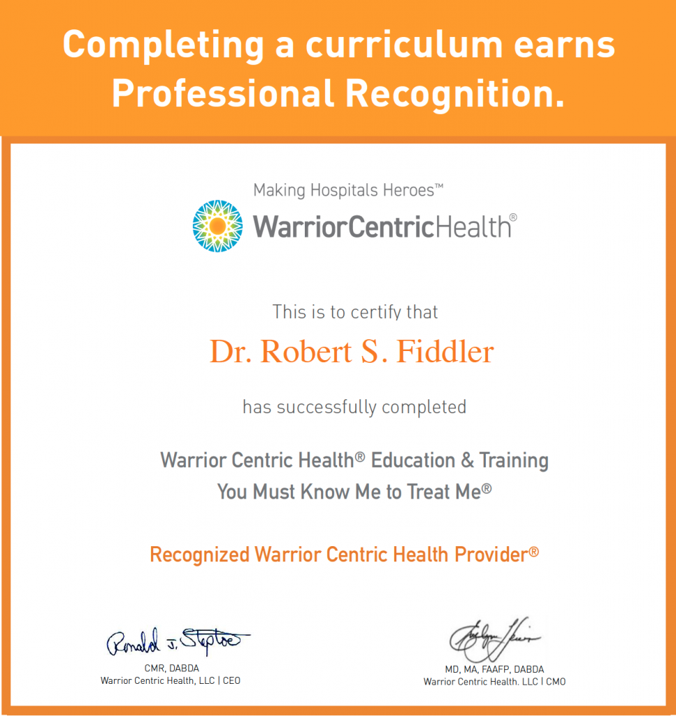 WCH certificate to Dr. Robert S. Fiddler